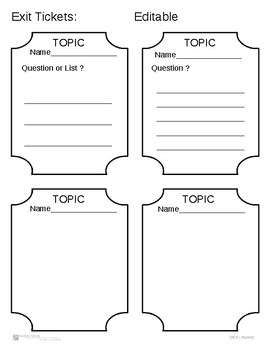 Exit Ticket - Blank and Editable