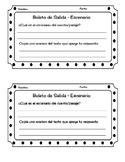 Exit Ticket/Boleto de Salida Spanish