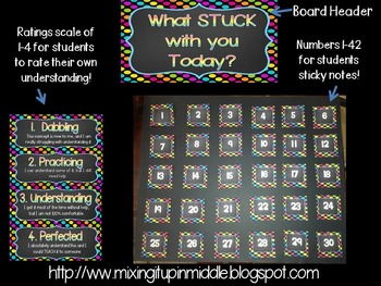 Exit Ticket Bulletin Board Set--All You Need to Create  Sticky Note Exit Board!