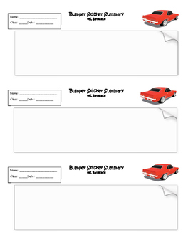 Exit Ticket Bumper Sticker Summary or Interactive Notebook Output
