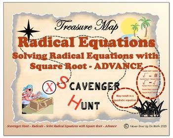 Scavenger Hunt {School/Home/Stations} - Solve Square Root Equation - ADVANCE