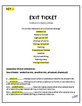 Exit Ticket: Chemical Reactions TEKS 6.5D