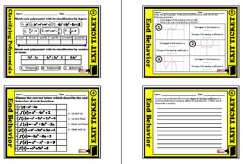 Exit Ticket - Classifying Polynomials & End Behavior