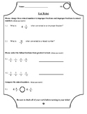 Exit Ticket - Converting Mixed Numbers & Improper and Orde