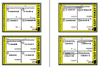 EXIT TICKET - Find Slope given 2 points