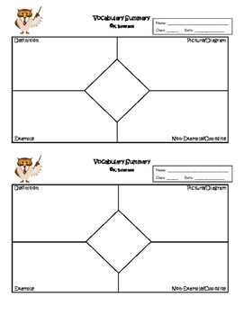 Exit Ticket Frayer Model Vocabulary Summary or Interactive Notebook Output