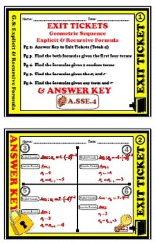 Exit Ticket - Geometric Sequence - Explicit & Recursive Formula