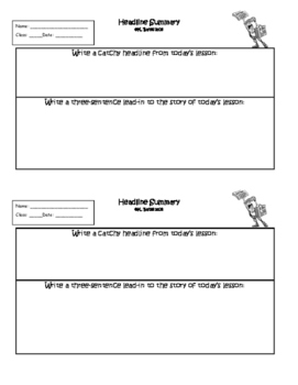 Exit Ticket Headline Summary or Interactive Notebook Output