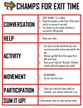 Exit Ticket Instructions using CHAMPS STRATEGY