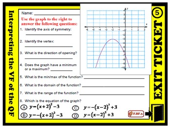 Exit Ticket - Interpreting the Vertex Form  of the Quadratic Function