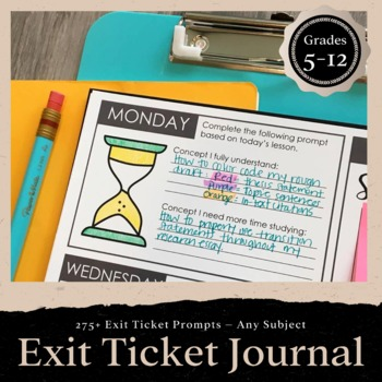 Exit Ticket Journal for ANY Subject: 275 Exit Ticket Prompts for Grades 5-12