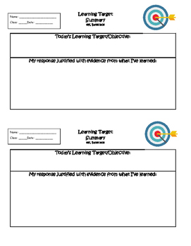 Exit Ticket Learning Target Summary or Interactive Noteboo