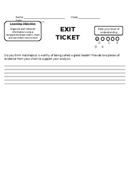Exit Ticket Model