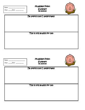 Exit Ticket Muddiest Point Summary or Interactive Notebook Output