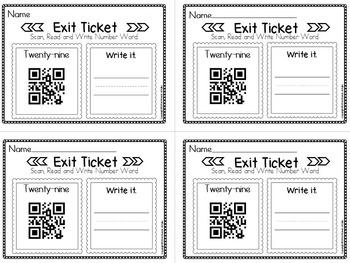 Exit Ticket Numbers 1 thru 50 (Write the Number Word) B/W