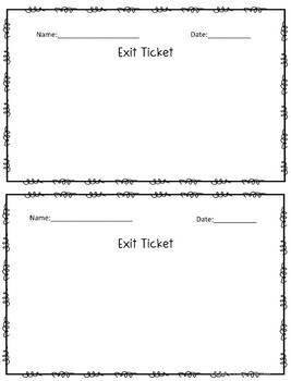 Blank Exit Ticket Packet 2