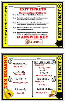 Exit Ticket - Patterns - Sequences, Explicit Formula, & Recursive Formula