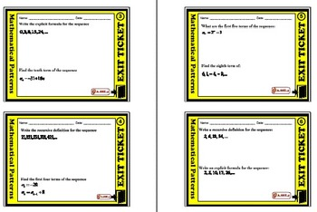 Exit Ticket - Patterns - Sequences, Explicit Formula, & Recursive Formula
