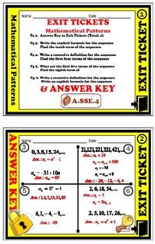 Exit Ticket - Patterns - Sequences, Explicit Formula, & Re