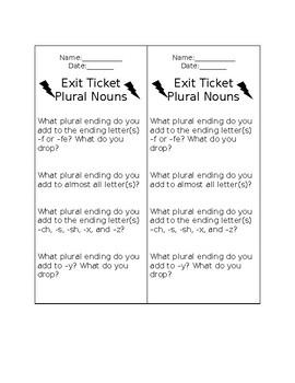 Exit Ticket Plural Nouns