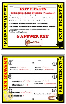 Exit Ticket - Polynomial Functions - Long Division