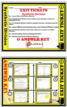 Exit Ticket - Polynomial Functions - Synthetic Division