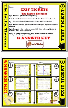 Exit Ticket - Polynomial Functions - The Factor Theorem