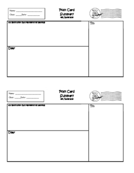 Exit Ticket Post Card Summary or Interactive Notebook Output