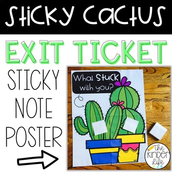 Exit Ticket Poster Sticky Note Cactus Comprehension Poster
