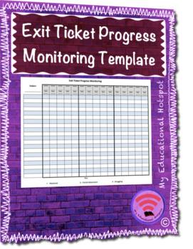 Exit Ticket Progress Monitoring Template