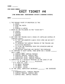 Exit Ticket (Quiz) #4: Respiratory & Nervous System