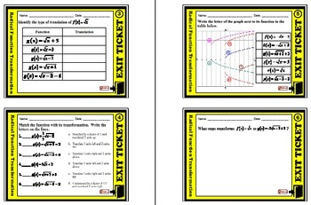 Exit Ticket - Radical Function Transformation