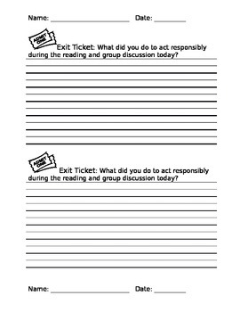 Exit Ticket - Reading and Group Discussions