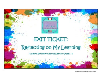 Exit Ticket: Reflecting on My Learning
