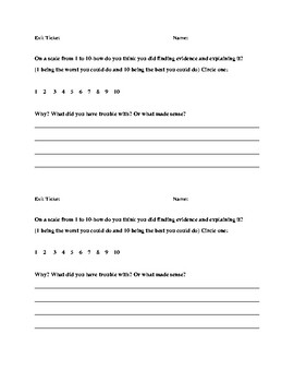 Exit Ticket-Self Assessment for text evidence