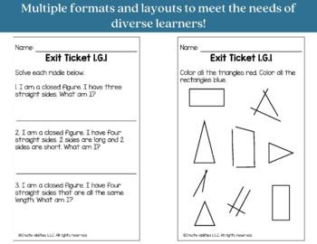 Exit Ticket Bundle 1st Grade