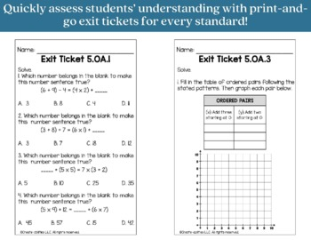 Exit Ticket Bundle 5th Grade