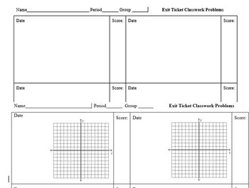 Exit Ticket Sheet for Math