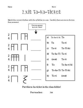 Exit Ticket - Sixteenth Notes (Takatiki)