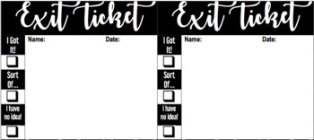 Exit Ticket Slips Template + Self Assessment