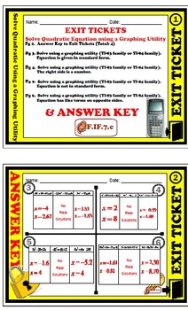 Exit Ticket - Solve Quadratic equation using a graphing utility (TI-83 or TI-84)