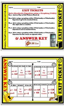Exit Ticket - Solve Quadratic equation using a graphing ut