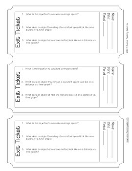 Exit Ticket (Exit Slip) - Speed Represented Mathematically and Graphically