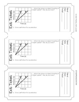 Exit Ticket (Exit Slip) - Speed and Acceleration