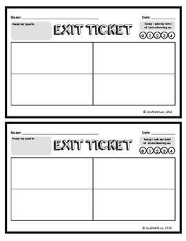 Exit Ticket Templates Teaching Resources Teachers Pay Teachers
