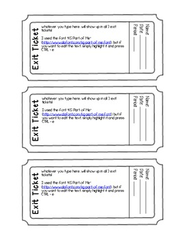 Exit ticket exit slip template editable pdf form tpt for Editable ticket template free