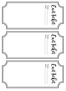 Exit Ticket Template Free