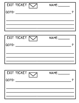 Exit Ticket Template - Question of the Day