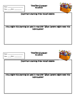 Exit Ticket Tool Box Summary or Interactive Notebook Output