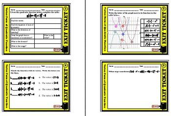 Exit Ticket - Vertex Form of Quadratic Function